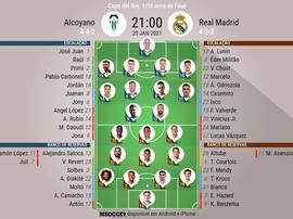 Escalações de Alcoyano e Real Madrid pela Copa do Rei da Espanha 2020-21. BeSoccer