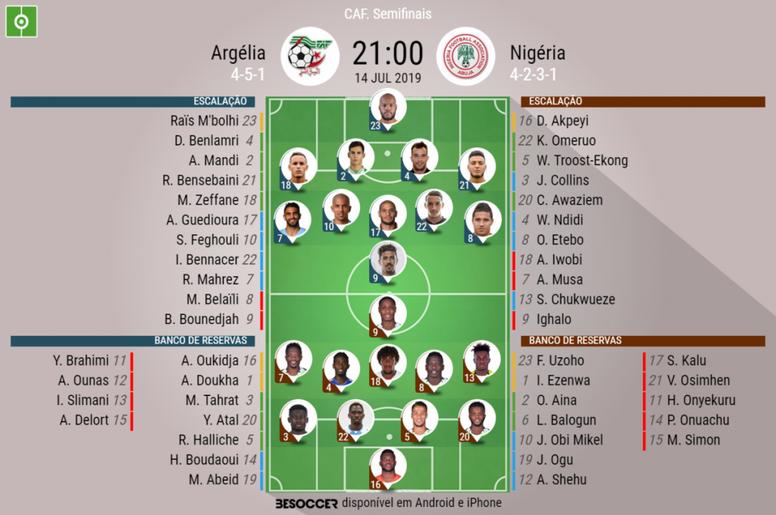 Escalações de Argélia e Nigéria para a partida semifinal da Copa da África 2019. BeSoccer