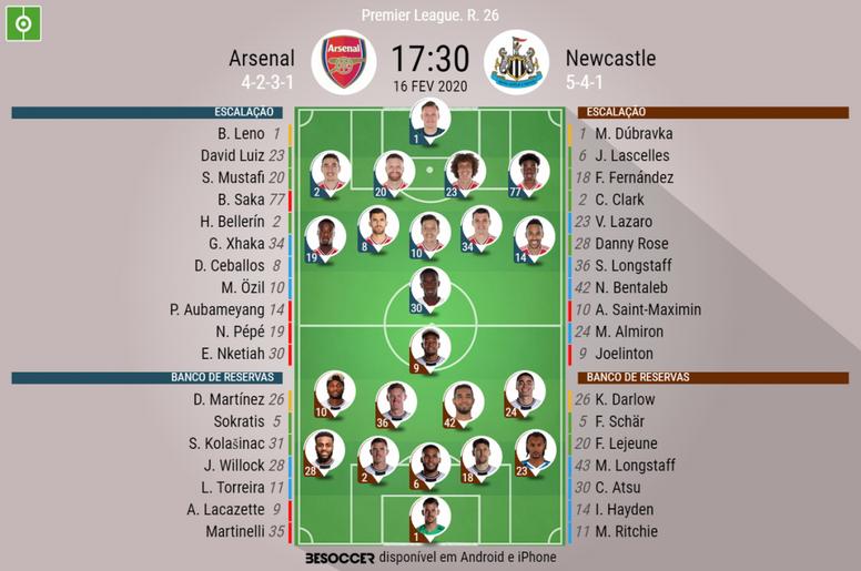 Escalações de Arsenal e Newcastle. BeSoccer