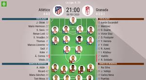Escalações de Atlético de Madrid e Granada, 23ª rodada LaLiga 08/02/20. BeSoccer