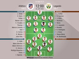 Escalações de Atlético de Madrid e Leganés, 21ª rodada LaLiga 26/01/20. BeSoccer