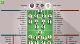 Escalações de Atlético de Madrid e Real Betis pela sétima rodada do Espanhol. BeSoccer