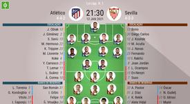 Escalações de Atlético de Madrid e Sevilla pela 1º rodada de LaLiga. BeSoccer