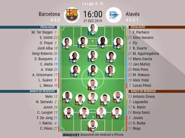 Escalações de Barcelona e Alavés pela 18ª rodada da LaLiga - 21/12/2019. BeSoccer