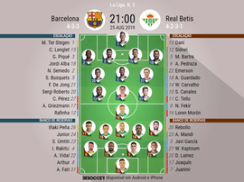 Escalações de Barcelona e Betis para a 2º rodada de Laliga 2019-20. BeSoccer