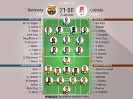 Escalações de Barcelona e Granada pela 20º rodada de LaLiga 19-20. BeSoccer