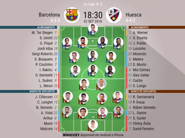 Escalações de Barcelona e Huesca para 3ª rodada do Campeonato Espanhol. BeSoccer