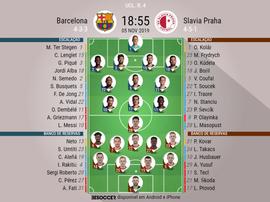 Escalações de Barcelona e Slavia pela 4ª rodada da Champions 05-11-19. BeSoccer