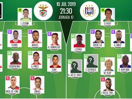 Escalações de Benfica e Anderlecht em partida amistosa. BeSoccer