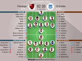 Escalações de Flamengo e Emelec. BeSoccer