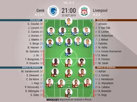 Escalações de Genk e Liverpool pela Champions League. BeSoccer