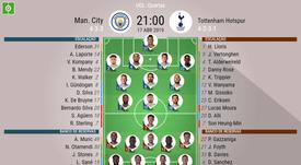 Escalações de Manchester City e Tottenham. BeSoccer