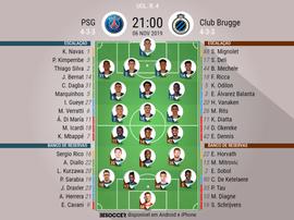 Escalações de PSG e Brugge pela 4ª rodada da Champions 06-11-19. BeSoccer
