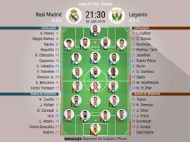 Escalações de Real Madrid e Leganés em partida válida pela Copa do Rei 09-01-18. BeSoccer