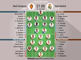 Escalações de Zaragoza e Real Madrid pelas oitavas de final da Copa do Rei 2019-20. BeSoccer