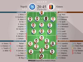 Escalações do Napoli-Genoa, 18-03-18. BeSoccer