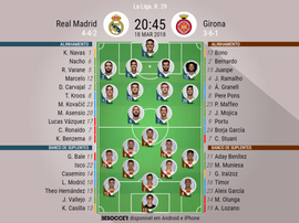 Escalações do Real Madrid-Girona de 18-03-18. BeSoccer
