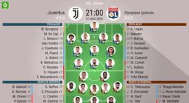 Escalações Juventus e Lyon - Oitavas de final - Champions League - 07/08/2020. BeSoccer