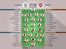Escalações Liverpool e Arsenal - 3ª rodada Premier League. BeSoccer