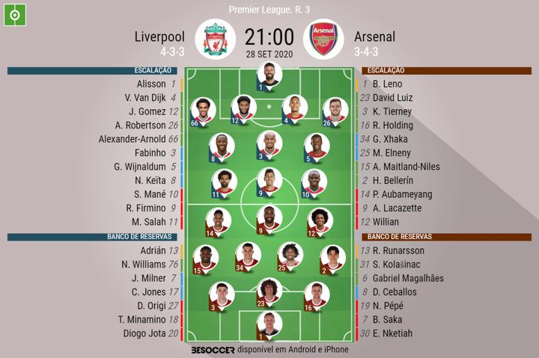 Escalações Liverpool e Arsenal - 3ª rodada Premier League. BeSoccer