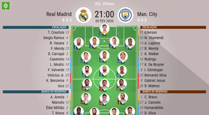 Escalações Real Madrid e Manchester City - oitavas Champions League - 26/02/2020. BeSoccer