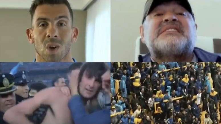 Escenas del vídeo de Boca Juniors con participación estrella de Tévez y Maradona. Twitter/BocajrsOfi