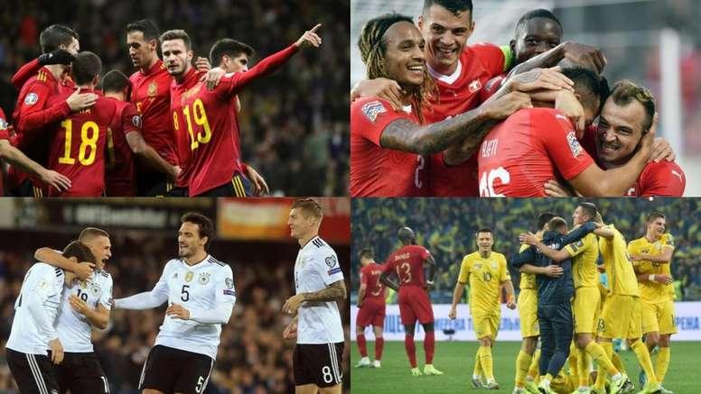 El grupo de España en la Liga de las Naciones. Montaje/EFE/AFP
