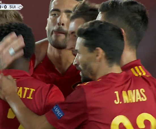 Spain pounced on a Swiss misstake for 1-0. Captura/TVE