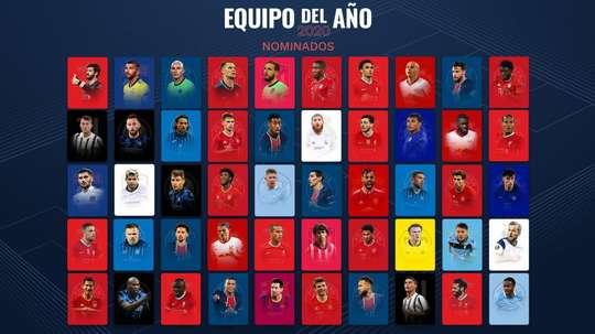 Os 50 indicados à melhor equipe de 2020. UEFA