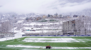 The spectacular image that the snow left in the Andorra v Lleida Esportiu match. FCAndorra