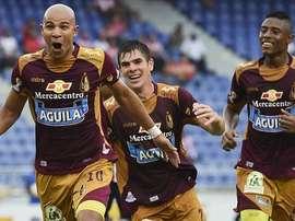 Estrada, autor del primer gol, Leichtweis y Delgado el tanto que igualaba la eliminatoria. Twitter