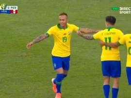 Gabriel Jesus fait danser Trauco et Everton ouvre la marque. Capture/DIRECTVSports