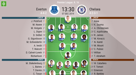 Everton v Chelsea, Premier League 2019/20, 7/12/2019, matchday 16. Official line-ups. BESOCCER