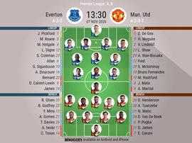 Everton v Manchester United, Premier League 2020/21, 7/11/2020, 8th matchday - Official line-ups. BE