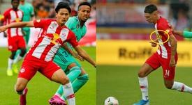 El jugador más joven del RB Salzburgo siempre lleva otro patrocinador. RBSalzburg