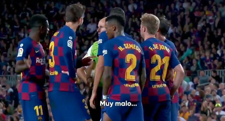 Mateu echó a Dembélé. Captura/Twitter/vamos