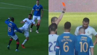 Nacho loses the plot, a brutal kick and a red card. Screenshot/RealMadridTV