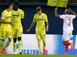 Fabinho celebrates scoring his penalty against Villarreal. UEFA