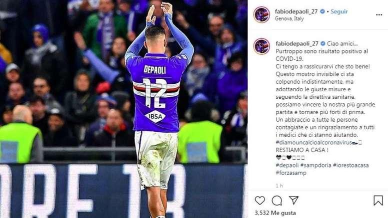 De Paoli of Sampdoria has tested positive for coronavirus. Captura/Instagram/fabiodepaoli_27