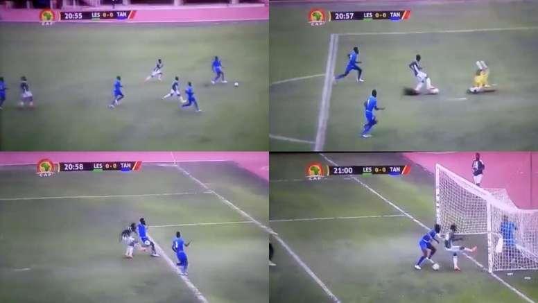 L'incredibile giocata in Lesotho-Tanzania. Captura/S7