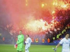FC Copenhagen fans lit flares at the King Power Stadium. AP/BBC