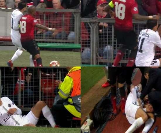 Le mauvais geste de Young sur Di Maria. Capture/Movistar/ESPN