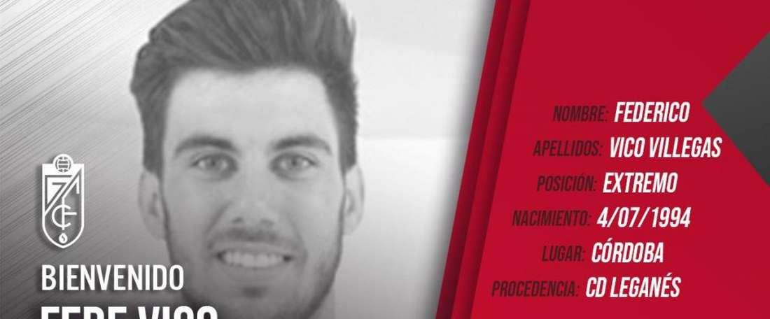 Vico jouera avec Granada la saison prochaine. Twitter/GranadaCF