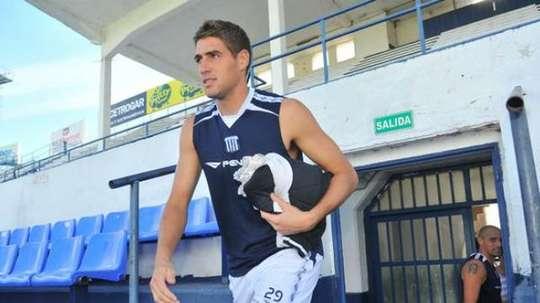 Federico Costa, en un entrenamiento de Talleres. Twitter
