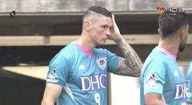 Torres marcó de cabeza el 0-2 del Sagan Tosu. Captura/TrueSport
