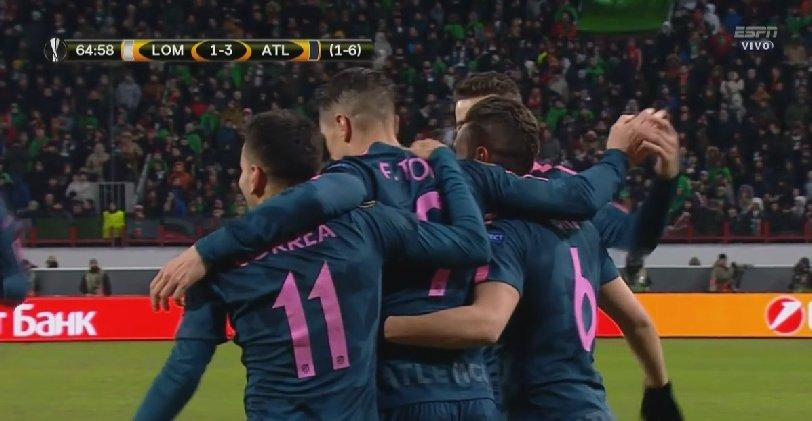 L'Atlético étrille le Lokomotiv et file en quarts — Ligue Europa