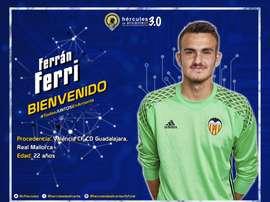 Ferrán Ferri fichó por el Hércules. Twitter/CFHércules