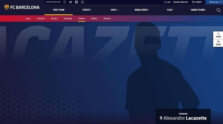 Why does Lacazette appear on Barça's website? FCBarcelona