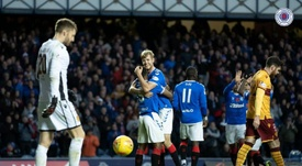 Helander's late header meant Rangers stayed level on points with Celtic. RangersFC