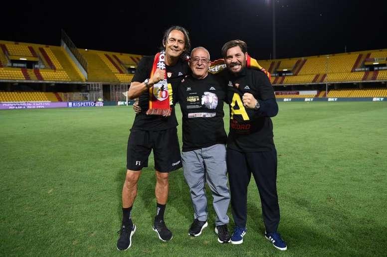 El Pippo Inzaghi lleva al Benevento a la Serie A. Twitter/bncalcio